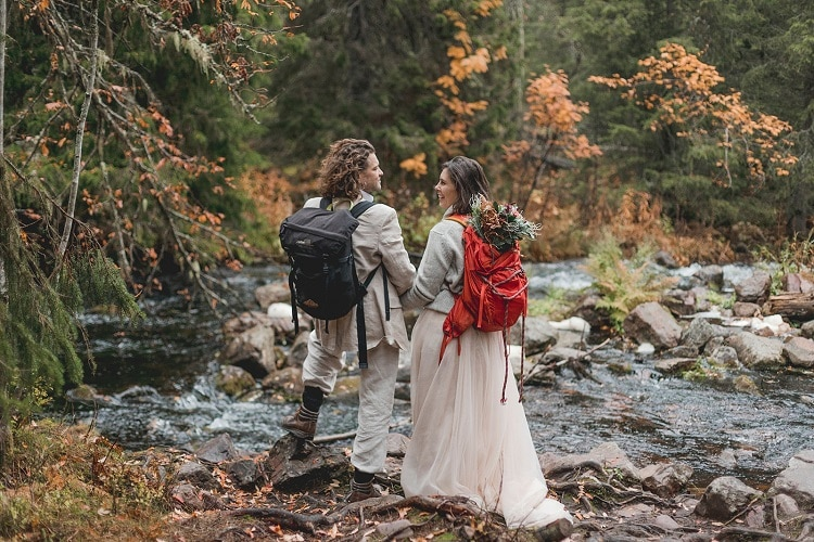 Autumn Waterfall Elopement Session in Sweden